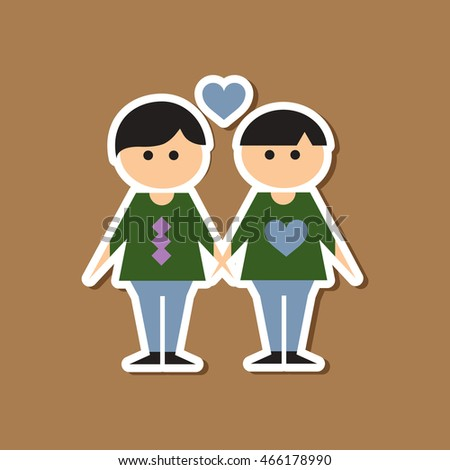 paper sticker on stylish background of homosexual lovers
