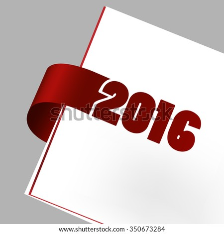 Paper sticker with year 2016
