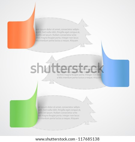 Paper stickers - different colors with space for text - stock vector