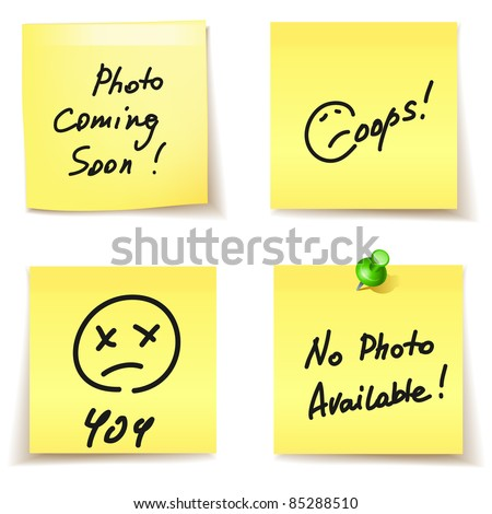 paper stickers - error,404, oops,no photo available - stock vector