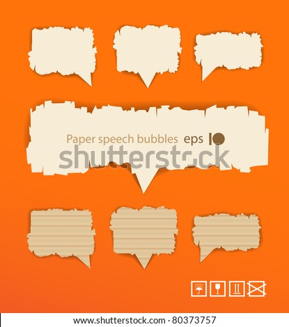 Paper style vector speech bubbles on orange background. Ready for a text - stock vector