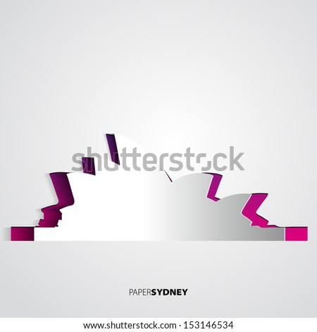 Paper Sydney opera house - Australia - Vector card illustration - stock vector