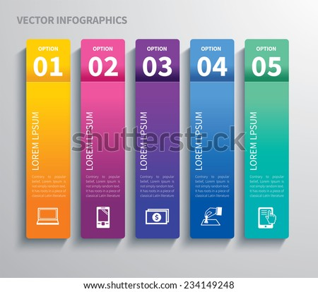 paper tab infographic - stock vector