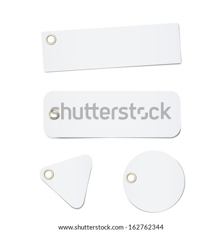 paper tags / labels / banners with metallic holes - stock vector
