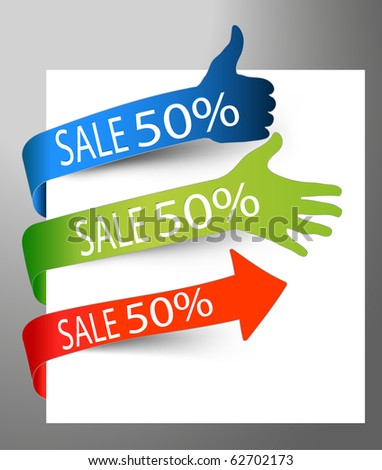 paper tags - sale arrows and finger showing direction. - stock vector