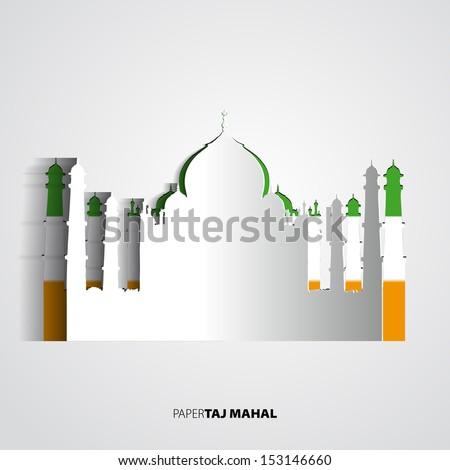 Paper Taj Mahal vector illustration - vector card illustration - stock vector