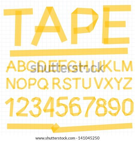 Paper tape alphabet font. Vector. - stock vector