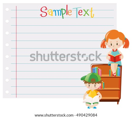 Paper template with kids reading books illustration