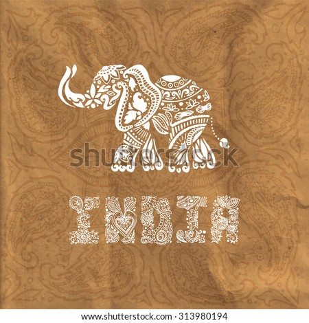 Paper texture background. Traditional Indian style. Doodle. Stylized elephant. Lettering. The image can be used as a template, background, wallpaper, textile printing, printing on cards - stock vector