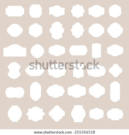 Paper texture collection blank frames and label set. Vector illustration. - stock vector