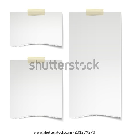 paper texture notes stuck on the white wall   - stock vector