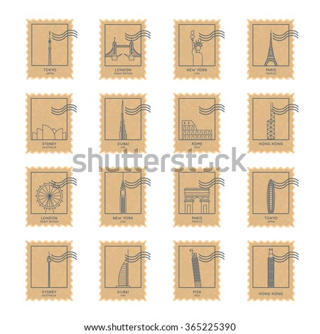 paper texture postage stamp set with thin line biggest cities famous landmarks and buildings. vector illustration in retro style - stock vector