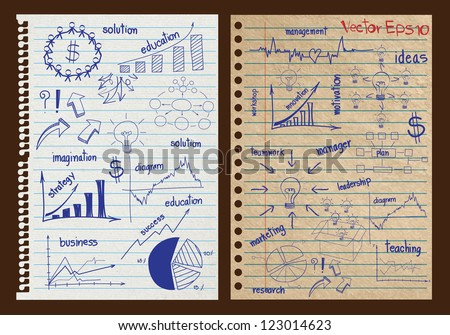 Paper textures background with drawing business strategy plan concept idea, Vector template design