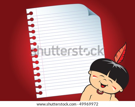 Paper theme (Little Indian) - stock vector
