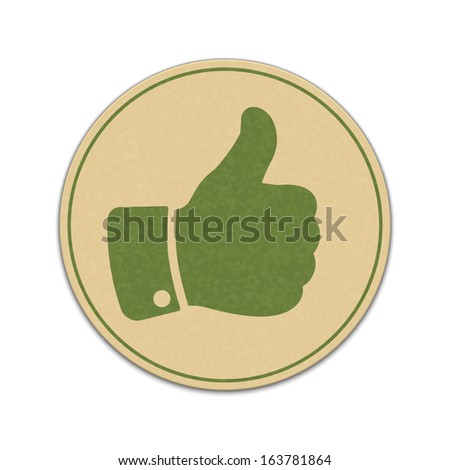 Paper thumb up sticker isolated on white background - stock vector