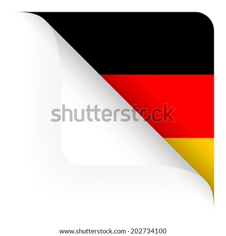 Paper - top corner rounded - Country flag of Germany - stock vector