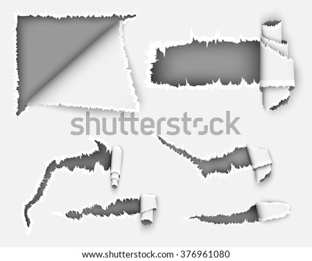 paper torn hole in the paper sheet - stock vector