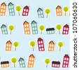 Paper town seamless pattern. Vector illustration. - stock vector