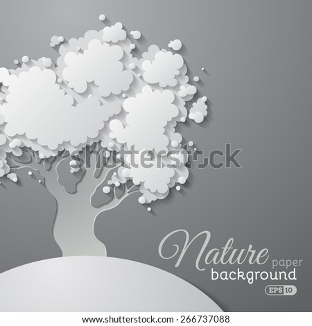 Paper tree background. Vector tree on paper background. There is place for text on right side. - stock vector