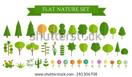 Paper Trendy Flat Trees and Flowers Set Vector Illustration EPS10 - stock vector