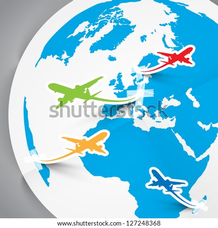 Paper vector planes and Earth - stock vector