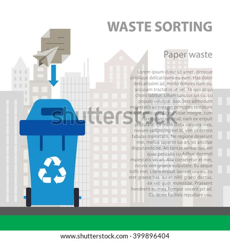 Paper waste sorting flat concept.  Vector illustration of paper waste. Paper waste recycling categories and garbage disposal. Paper waste types sorting management . - stock vector