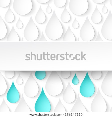 Paper water drops, abstract background with banner. Perfect for your business presentations. Vector illustration - stock vector