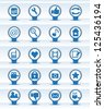 paper web icons blue and white colors. - stock vector