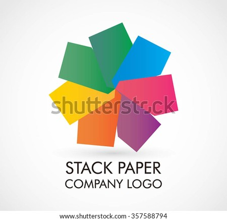Paper whirl of colorful circular abstract vector and logo design or template creative vortex business icon of company identity symbol concept - stock vector