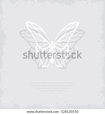 Paper white butterfly on gray background with abstract blots. Vector illustration.