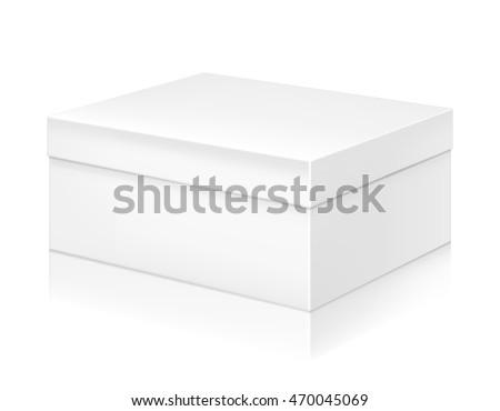 paper white shoe box mockup template stock vector 470045069 shutterstock. Black Bedroom Furniture Sets. Home Design Ideas