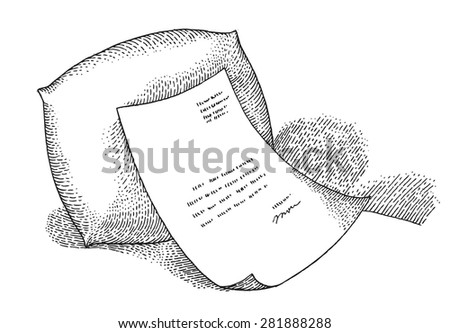 Paper with a pillow - stock vector