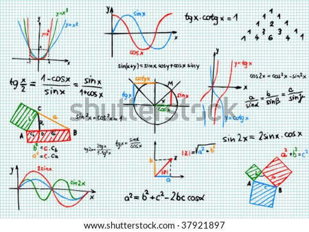 Paper with colored mathematics formula and sketches - vector illustration - stock vector