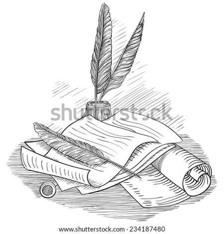 Paper with  inkwell and feather. Vector set of Retro  scrolls and antique objects at color engraving style.   - stock vector