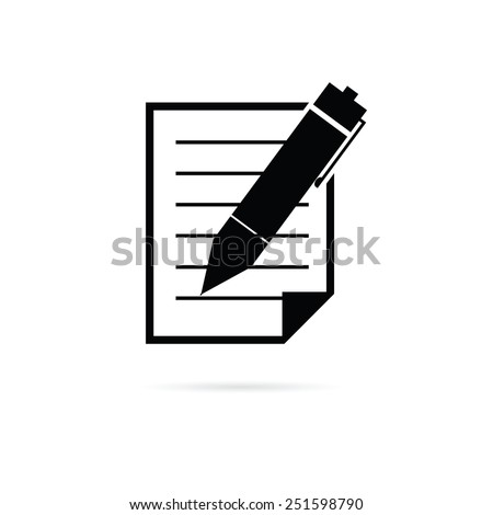 paper with pen vector illustration - stock vector