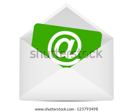 paper with the symbol of an open e-mail in an envelope - stock vector