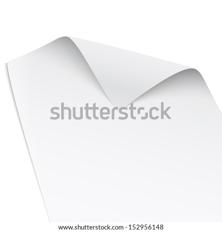 Paper with twisted corner, isolated on white background, gentle shadows. Vector illustration. EPS10.