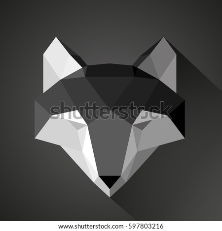 Paper Wolf Mask Origami Animal Geometric Logo Emblem For Designers