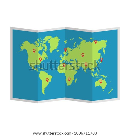 Paper world map. Vector. Isolated.