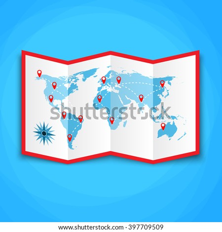 Paper world map location icons map stock photo photo vector paper world map with location icons map icon vector map vector illustration in gumiabroncs Gallery