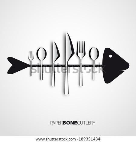Papercut bone fish cutlery, spoon, knife, fork - stock vector