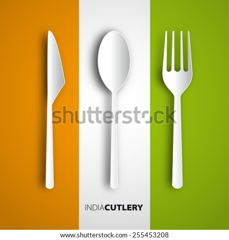 Papercut fork, knife, spoon on india flag, Vector restaurant card menu design - stock vector