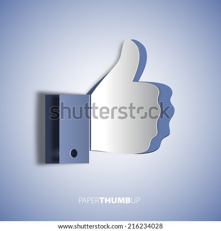 Papercut icon social networks, like us Icons, vector illustration - stock vector