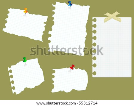 papers pasted on the board - stock vector
