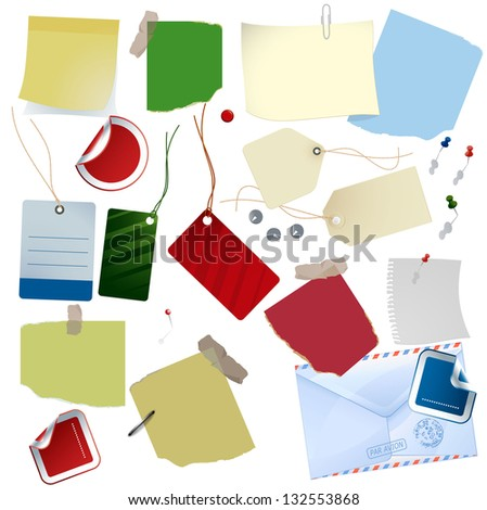 Papers, stickers, labels and tags. Vector design elements set. - stock vector