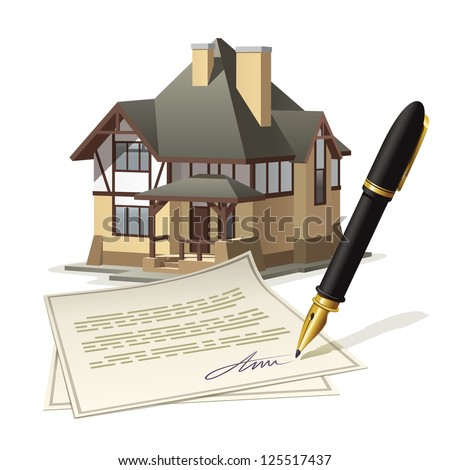 Paperwork at home. Illustration documenting real estate market through the signing of the agreement.