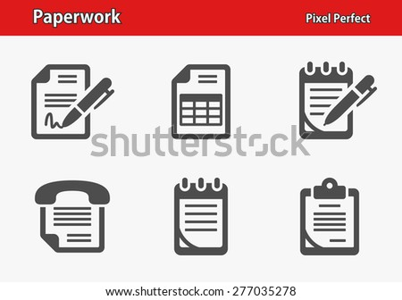 Paperwork Icons. Professional, pixel perfect icons optimized for both large and small resolutions. EPS 8 format. Designed at 32 x 32 pixels. - stock vector
