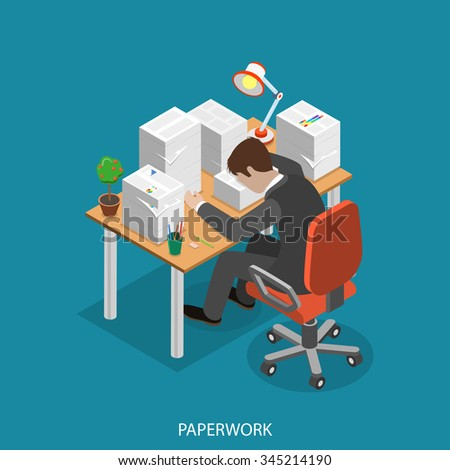 Paperwork isometric flat vector concept. Office worker is very tired  sitting at the table with his head is lain on the paper pile. - stock vector