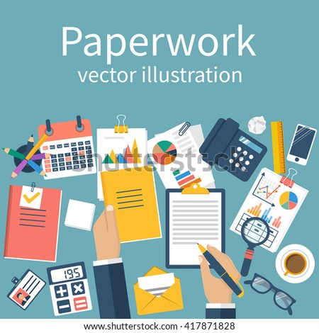 Paperwork, vector. Emotional stress. Man at his desk working on paperwork. Office worker. Working office atmosphere. Concept for overworked. Vector illustration, flat design. Work with documents. - stock vector