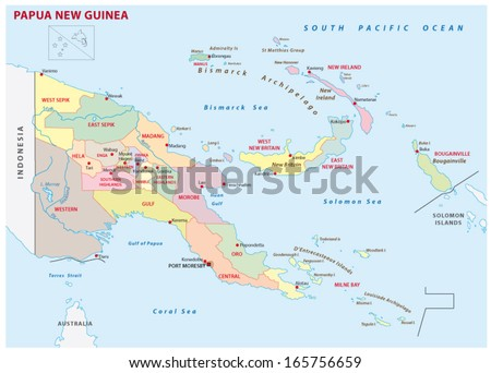 Papua New Guinea Administrative Map Stock Vector 2018 165756659